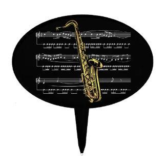Saxophone w/Sheet Music ~ Black Background Cake Topper