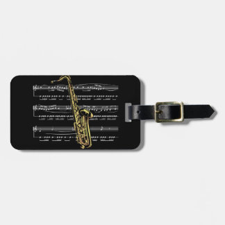 Saxophone w/Sheet Music ~ Black Background Tag For Luggage