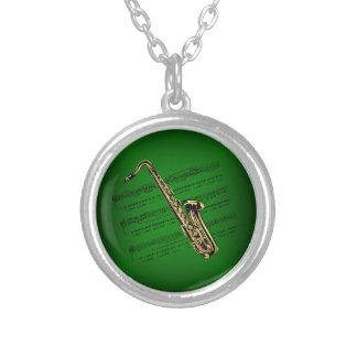 Saxophone w/Sheet Music ~ Dark Green Background Round Pendant Necklace