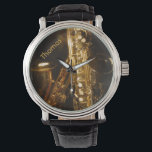 "Saxophone Watch<br><div class=""desc"">Sporty watch perfect for any music lover.  It features an up close photograph of two saxophones.  You customize the name at the top.</div>"