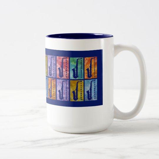 Saxophone Windows Two-Tone Coffee Mug