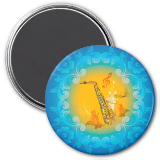 Saxophone with clef  in soft yellow, blue 3 inch round magnet