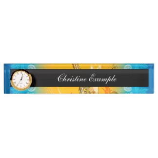 Saxophone with clef  in soft yellow, blue desk name plates
