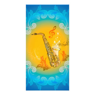 Saxophone with clef  in soft yellow, blue photo card