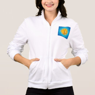 Saxophone with clef  in soft yellow, blue printed jackets
