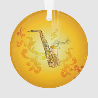 Saxophone with key notes and clef