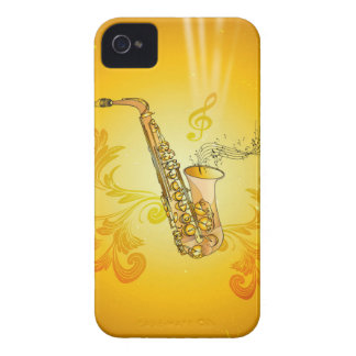 Saxophone with key notes and clef iPhone 4 Case-Mate case