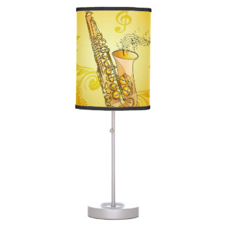 Saxophone with key notes and clef desk lamp