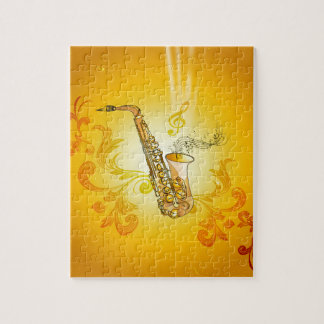 Saxophone with key notes and clef jigsaw puzzles