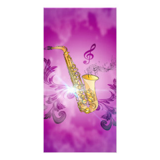 Saxophone with key notes and clef photo card