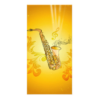 Saxophone with key notes and clef photo greeting card