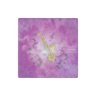 Saxophone with key notes and clef stone magnet