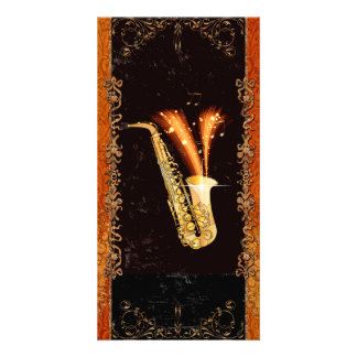 Saxophone with key notes and floral elements card