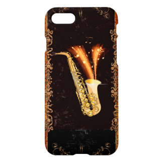 Saxophone with key notes and floral elements iPhone 8/7 case