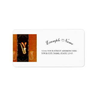 Saxophone with key notes and floral elements label