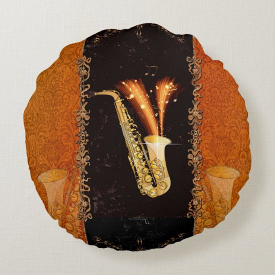 Saxophone with key notes and floral elements round pillow