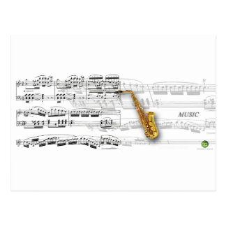saxophone with musical score. postcard
