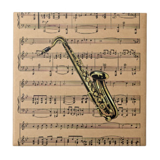Saxophone ~ With Sheet Music Background Ceramic Tile