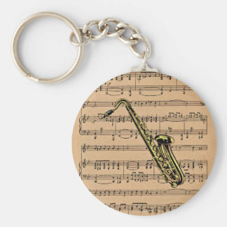 Saxophone ~ With Sheet Music Background Keychain