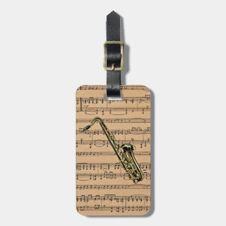 Saxophone ~ With Sheet Music Background Travel Bag Tags