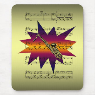 Saxophone with Sheet Music Background Mouse Pad