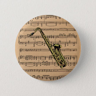 Saxophone ~ With Sheet Music Background Pinback Button