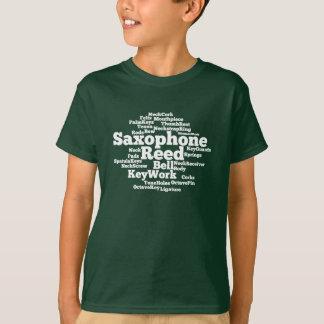 Saxophone Word Cloud White Text T-Shirt