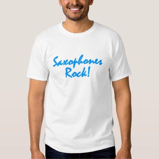 Saxophones Rock - Blue Lettering T Shirt