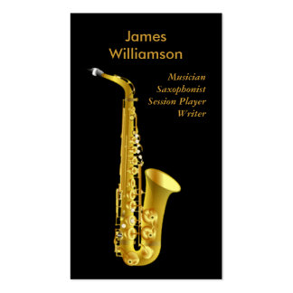Saxophonist Music Instrument Black Gold Musician Double-Sided Standard Business Cards (Pack Of 100)