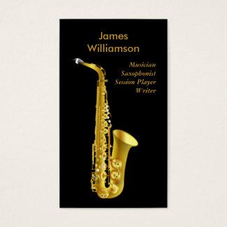 Saxophonist Music Instrument Black Gold Musician Business Card