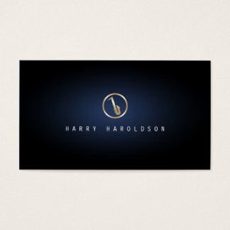 Saxophonist Saxophone Icon Blue Glow Musician Business Card