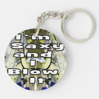 saxy and I blow it middle blue 2 double solid play Keychain