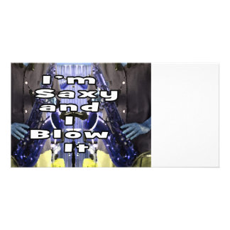 saxy and I blow it middle blue double solid player Customized Photo Card