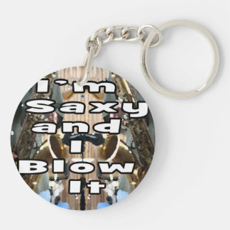 saxy and I blow it middle bw double solid player p Keychain