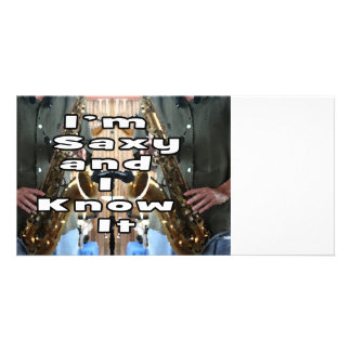 saxy and know it middle bw double solid player pic personalized photo card