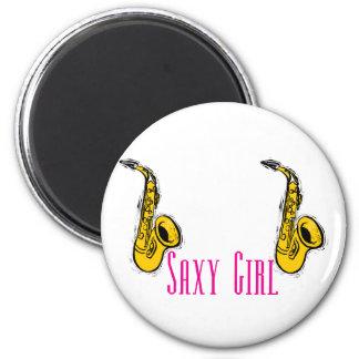 SAXY Girl Pink Saxophone Players Design 2 Inch Round Magnet