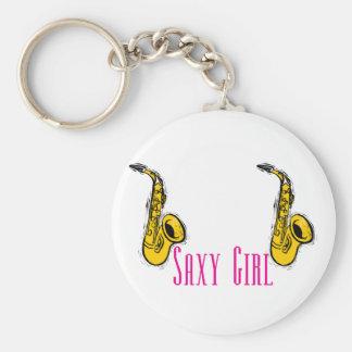 SAXY Girl Pink Saxophone Players Design Keychain