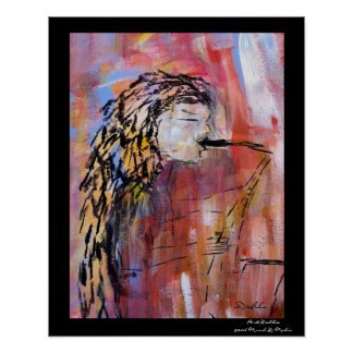 "Saxy woman 16"" x 20"", Value Poster Paper (Matte)"