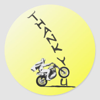 SAY AN EVEL THANK YOU. yellow. Classic Round Sticker