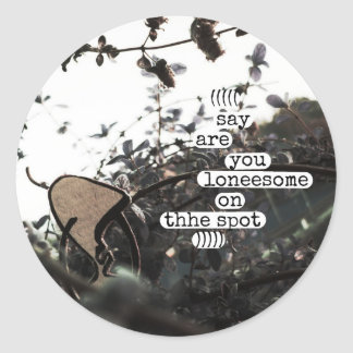 say are you loneesome on thhe spot classic round sticker