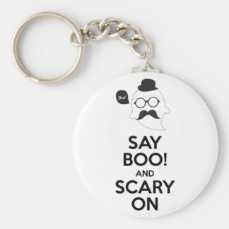 Say boo! and scary on keychain