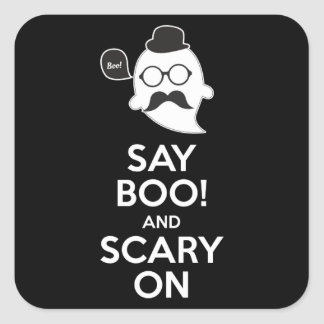 Say boo! and scary on square sticker