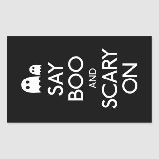 Say boo and scary on rectangular sticker