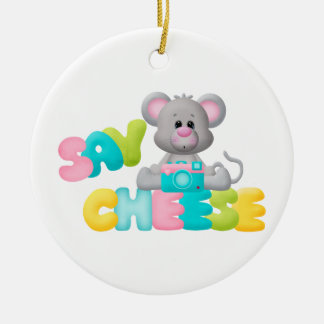 Say Cheese Mouse Gift For Kids Christmas Tree Ornament