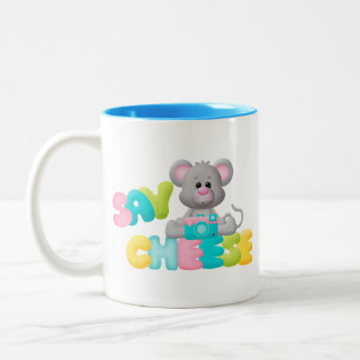 Say Cheese Mouse Gift For Kids Two-Tone Coffee Mug
