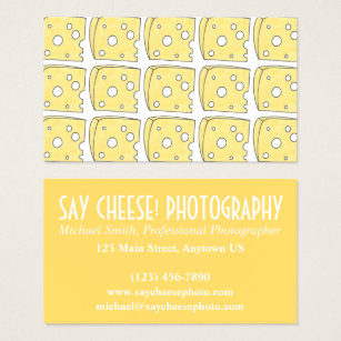 Sayings photography business cards templates zazzle say cheese photographer photography swiss cheese business card colourmoves