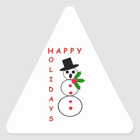 """Say """"Happy Holidays"""" with these Snowman gift items Triangle Sticker"""