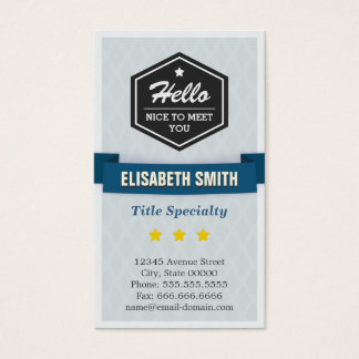 Say Hello and Nice to Meet You in Retro Style Business Card