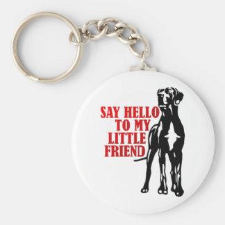 say hello to my little friend basic round button keychain