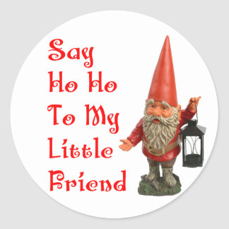 Say Ho Ho To My Little Friend Santa Christmas Classic Round Sticker